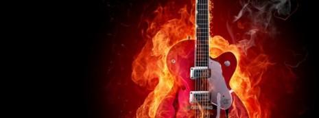 guitarra electrica fuego