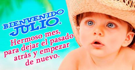 Imagen de bebé con sombrero y frase de mes de julio http://fechaespecial.com