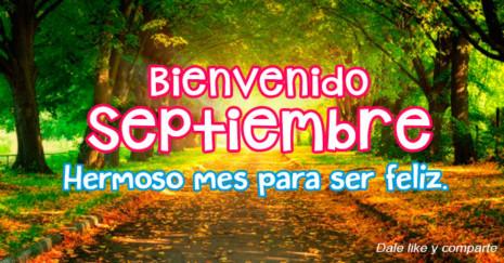 Imagen de calle rodeada de árboles con frase de septiembre http://fechaespecial.com/